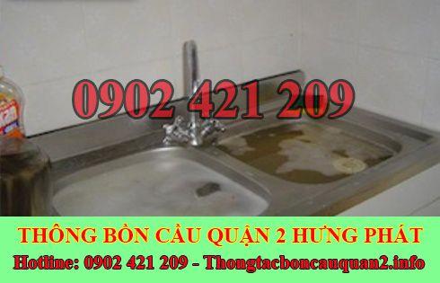 Thông tắc bồn rửa bát bị trào ngược Quận 2 BH 5năm 0902421209